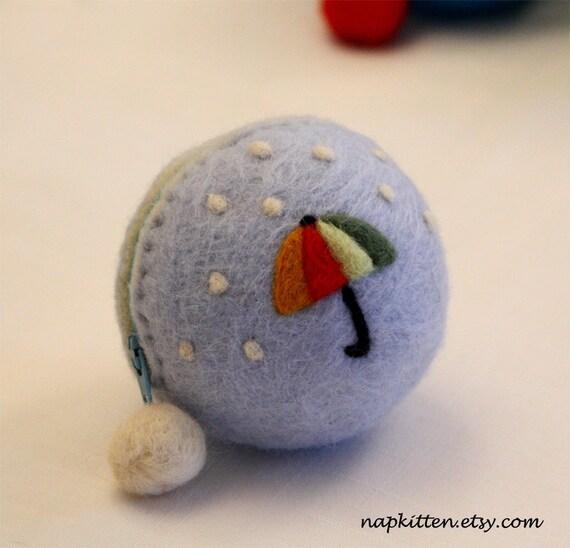 Wool Coin Purse, Coin Pouch, Change Purse, Felted Wool Zippered Bag, Umbrella, Rain, Handmade