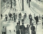 1940s Vintage Photograph - Snow Valley Skiing - Wonderful 40s Vintage Book Art Photograph Great Vintage Print for Cottage or Cabin