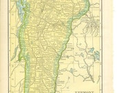 1911 State Map Maine / Vermont - Vintage Antique Map Great for Framing 100 Years Old