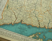 1939 State Map Connecticut - Vintage Antique Map Great for Framing