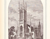 1883 Architecture Church Print - Metropolitan Methodist Church Toronto Canada - Antique Art Illustration 100 Years Old