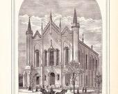 1883 Architecture Church Print - Broadway Methodist Episcopal Church Louisville Kentucky - Antique Art Illustration 100 Years Old