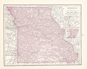 1900 State Map Missouri - Vintage Antique Map Great for Framing 100 Years Old