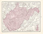 1900 State Map West Virginia - Vintage Antique Map Great for Framing 100 Years Old