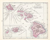 1908 Map Hawaii - Vintage Antique Map Great for Framing 100 Years Old