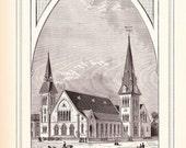 1883 Architecture Church Print - Tremont Street Methodist Episcopal Church Boston Massachusetts - Antique Art Illustration 100 Years Old