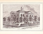 1883 Architectural Print - Chappell Hill Female College - Antique Art Illustration 100 Years Old