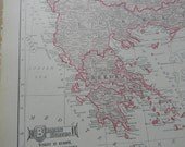 1911 Map Balkan States - Vintage Antique Map Great for Framing 100 Years Old