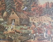 1952 Currier and Ives Pioneer Home on the Western Frontier Print - Vintage Americana Folk Art Illustration