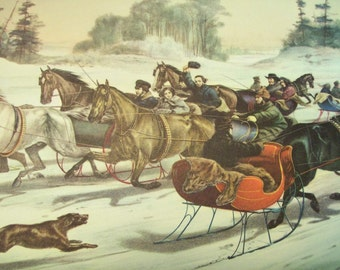 1952 Currier and Ives Winter Horse Race Print - Vintage Americana Folk Art Illustration
