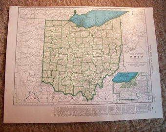 1947 State Map Ohio - Vintage Antique Map Great for Framing