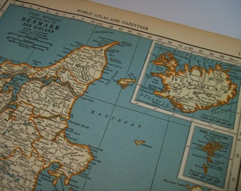 1937 Map Denmark and Iceland - Vintage Antique Map Great for Framing