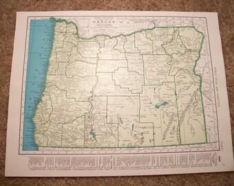 1943 State Map Oregon - Vintage Antique Map Great for Framing