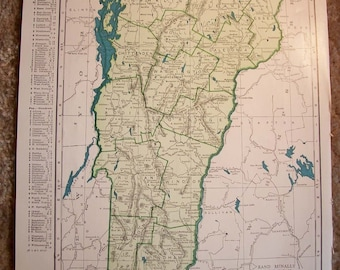 1945 State Map Vermont - Vintage Antique Map Great for Framing