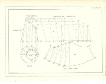 1904 Technical Drawing - Antique Math Geometric Mechanical Drafting Interior Design Blueprint Art Illustration for Framing 100 Years Old