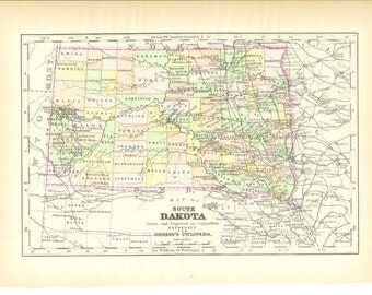 1896 State Map South Dakota - Vintage Antique Map Great for Framing 100 Years Old