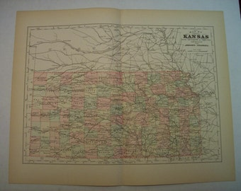 1896 State Map Kansas - Vintage Antique Map Great for Framing 100 Years Old