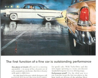 1950s Automobile Advertisement - 1955 Lincoln - Vintage Antique Retro 50s Era Pop Art Ad for Framing 50 Years Old