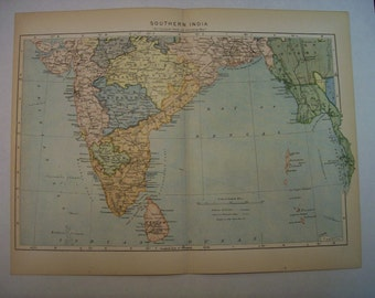 1896 Map Southern India- Vintage Antique Map Great for Framing 100 Years Old