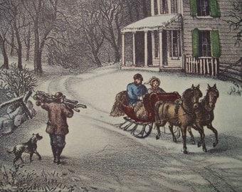 1952 Currier and Ives American Homestead Winter Print - Vintage Americana Folk Art Illustration