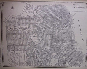 1942 City Map of San Francisco California - Vintage Antique Map Great for Framing