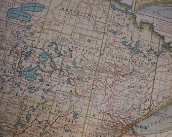 1911 State Map Minnesota - Vintage Antique Map Great for Framing 100 Years Old