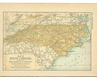 1891 State Map North Carolina - Vintage Antique Map Great for Framing 100 Years Old