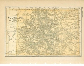 1891 State Map Colorado - Vintage Antique Map Great for Framing 100 Years Old