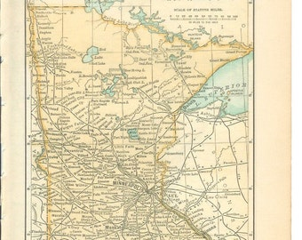 1891 State Map Minnesota - Vintage Antique Map Great for Framing 100 Years Old