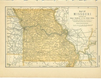 1891 State Map Missouri / Montana - Vintage Antique Map Great for Framing 100 Years Old