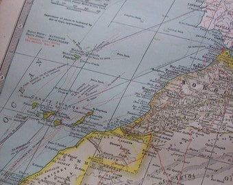 1911 Map North West Africa - Vintage Antique Map Great for Framing 100 Years Old
