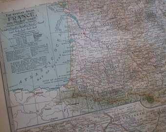 1911 Map Southern France - Vintage Antique Map Great for Framing 100 Years Old