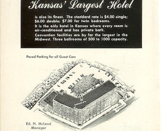 1950s Hotel Advertisement - Broadview Wichita Kansas - Vintage Antique Retro 50s Era Pop Art Ad for Framing 50 Years Old