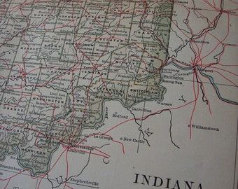 1903 State Map Indiana - Vintage Antique Map Great for Framing 100 Years Old