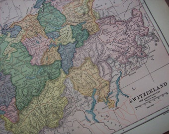 1903 Map Switzerland - Vintage Antique Map Great for Framing 100 Years Old