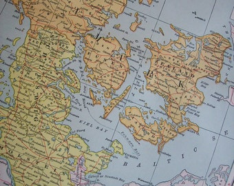 1903 Map Denmark - Vintage Antique Map Great for Framing 100 Years Old
