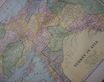 1903 Map Turkey in Asia - Vintage Antique Map Great for Framing 100 Years Old