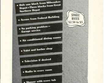 1950s Hotel Advertisement - Minnesotan Minneapolis Minnesota - Vintage Antique Retro 50s Era Pop Art Ad for Framing 50 Years Old