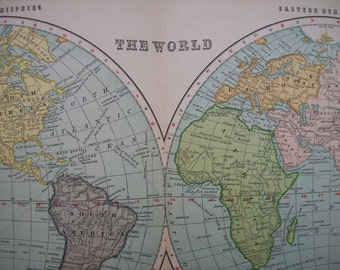 1903 Map World - Vintage Antique Map Great for Framing 100 Years Old