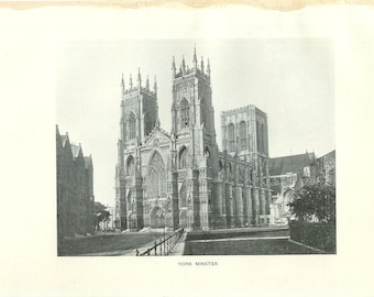 1903 Architecture Photograph - York Minster England - Vintage Antique Art Print History Geography Great for Framing 100 Years Old