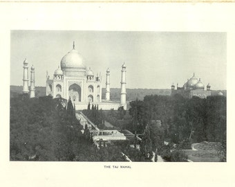 1909 Architecture Photograph - The Taj Mahal Agra India - Vintage Antique Art Print History Geography Great for Framing 100 Years Old