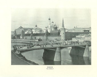 1903 Architecture Photograph - The Kremlin Moscow Russia - Vintage Antique Art Print History Geography Great for Framing 100 Years Old