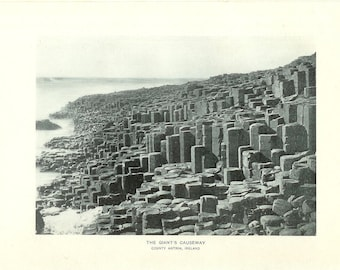 1903 Landscape Photograph -  Giant's Causeway County Antrim Ireland - Vintage Antique Art Print History Great for Framing 100 Years Old