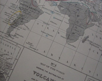 1867 Mitchell's World Map - Volcanoes and Earthquakes - Vintage Antique Map Great for Framing 100 Years Old