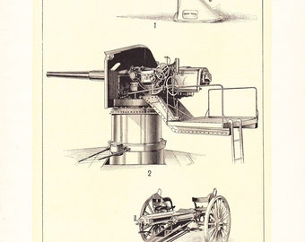1903 Ordnance Gun Print - Vintage Antique Home Decor Book Plate Art Illustration for Framing 100 Years Old