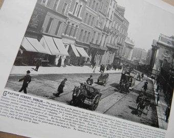 1898 Photography of Ireland - Grafton Street Dublin - Antique Victorian Era Fine Art for Framing 100 Years Old