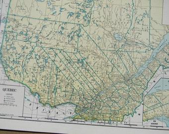 1945 Map Quebec - Vintage Antique Geography Print Art Illustration Map Great for Framing