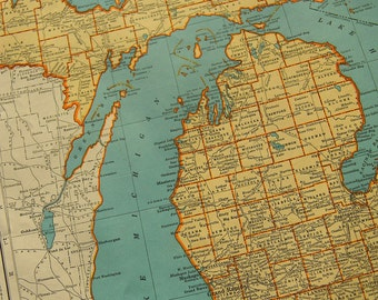 1941 State Map Michigan - Vintage Antique Map Great for Framing