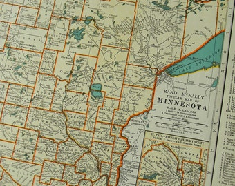 1940 State Map Minnesota - Vintage Antique Map Great for Framing