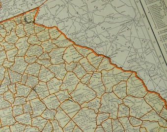1942 State Map Georgia - Vintage Antique Map Great for Framing